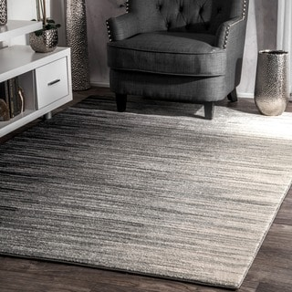 nuLOOM Geometric Abstract Stripes Fancy Black Area Rug (8' x 10')