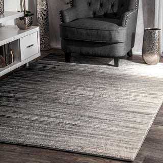 nuLOOM Geometric Abstract Stripes Fancy Black Rug (5'3 x 7'9)