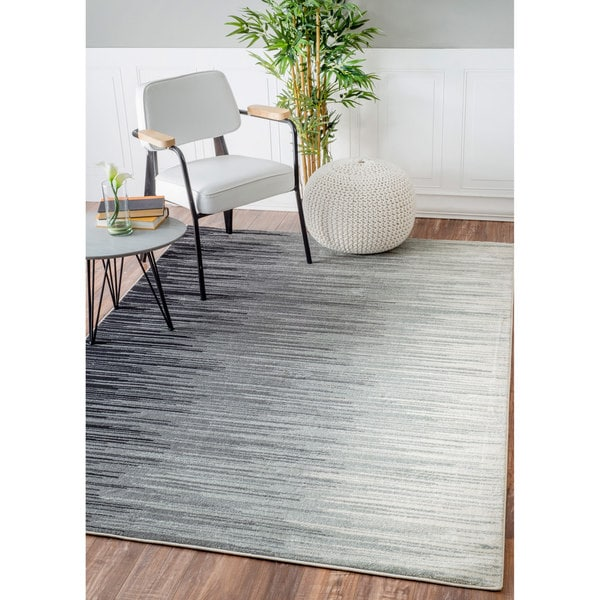 Nuloom Geometric Abstract Stripes Fancy Black Rug 5 3 X 7