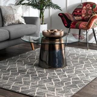 nuLOOM Geometric Moroccan Trellis Fancy Grey Area Rug (8' x 10') - 8' x 10'