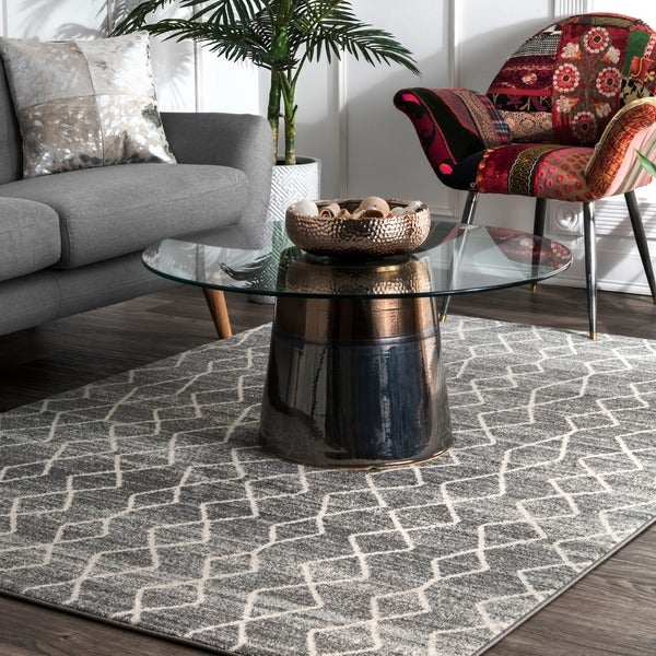 Nuloom Geometric Moroccan Trellis Fancy Grey Area Rug 8 X27