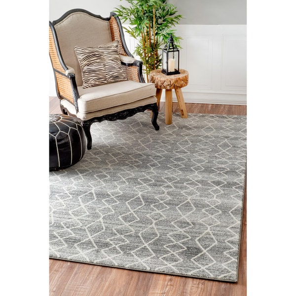 Nuloom Geometric Moroccan Trellis Fancy Grey Area Rug 8 X27
