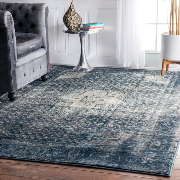 Nuloom Traditional Distressed Oriental Blue Grey Area Rug