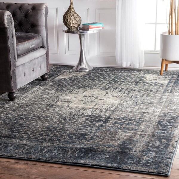 Nuloom Traditional Distressed Oriental Blue Grey Area Rug
