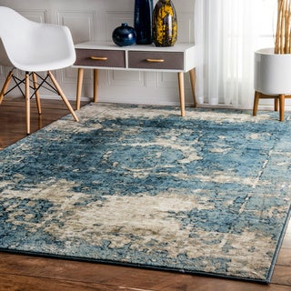 nuLOOM Traditional Vintage Fancy Blue and Grey Rug (7'10 x 11'2)