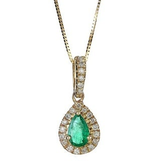 Anika and August 10k Yellow Gold Pear-cut Emerald and 1/8ct TDW Diamond Pendant (G-H, I1-I2)