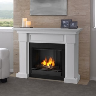 Real Flame Hillcrest White 48.4 in. L x 13.9 in. D x 39.6 in. H Gel Fuel Fireplace