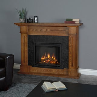 Real Flame Kipling Burnished Oak Finish 53.5 in. L x 13.7 in. W x 41.5 in. H Electric Fireplace