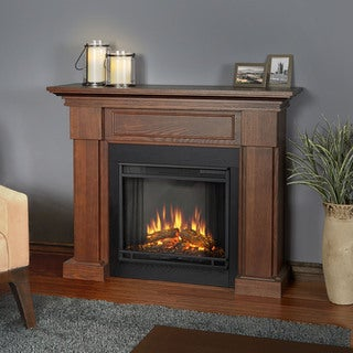 Real Flame Hillcrest Chestnut Oak 48.4 in. L x 13.9 in. D x 39.6 in. H Electric Fireplace