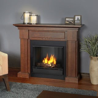 real flame hillcrest chestnut oak gel fuel fireplace - Gel Fuel Fireplace