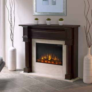 Real Flame Berkeley Dark Walnut 47 in. L x 12.3 in. D x 40.1 in. H Electric Fireplace