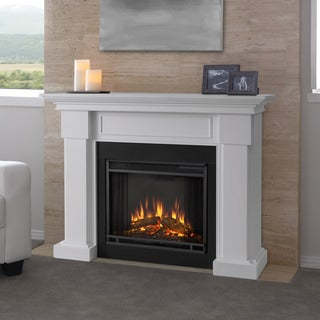 Real Flame Hillcrest White 48.4 in. L x 13.9 in. D x 39.6 in. H Electric Fireplace