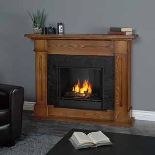 Real Flame Kipling Burnished Oak Gel Fuel Fireplace