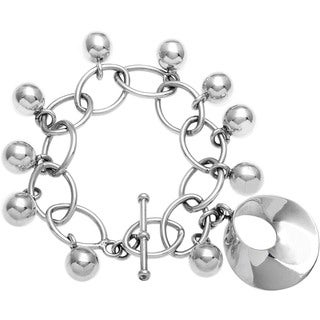 Kele & Co Heirloom .925 Sterling Silver Bracelet with Dangling Charms and Disc