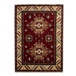 Herat Oriental Indo Hand-knotted Tribal Kazak Burgundy/ Ivory Wool Rug (5'9 x 8')