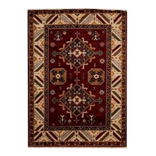 Herat Oriental Indo Hand-knotted Tribal Kazak Burgundy/ Beige Wool Rug (5'8 x 7'11)