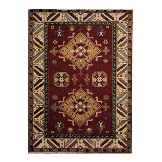 Herat Oriental Indo Hand-knotted Tribal Kazak Red/ Ivory Wool Rug (5'9 x 8')