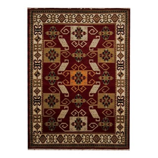 Herat Oriental Indo Hand-knotted Tribal Kazak Red/ Ivory Wool Rug (5'10 x 8')