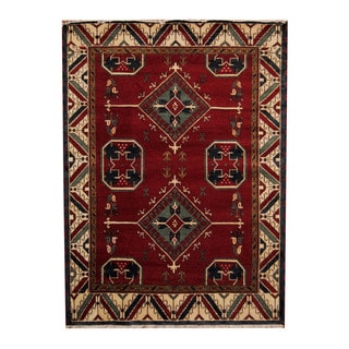 Herat Oriental Indo Hand-knotted Tribal Kazak Red/ Ivory Wool Rug (5'9 x 7'10)