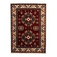 Handmade Herat Oriental Indo Tribal Kazak Wool Rug (India) - 4'9 x 6'7