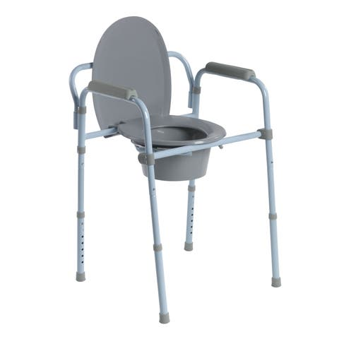 Drive Medical Steel Folding Commode - Blue