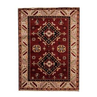 Handmade One-of-a-Kind Kazak Wool Rug (India) - 4'10 x 6'6