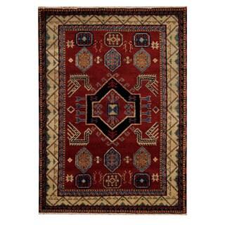 Herat Oriental Indo Hand-knotted Tribal Kazak Rust/ Beige Wool Rug (4'7 x 6'7)