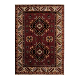 Herat Oriental Indo Hand-knotted Tribal Kazak Red/ Ivory Wool Rug (4'10 x 6'9)