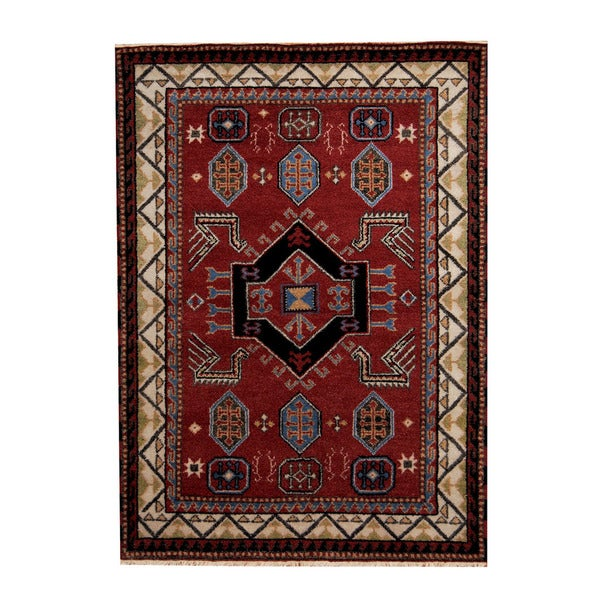 Herat Oriental Hand Tufted Wool Red Black Area Rug: Shop Herat Oriental Indo Hand-knotted Tribal Kazak Red