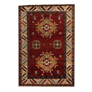Herat Oriental Indo Hand-knotted Tribal Kazak Red/ Ivory Wool Rug (5'9 x 8'4)