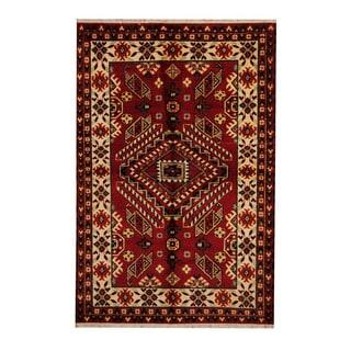 Herat Oriental Indo Hand-knotted Tribal Kazak Red/ Ivory Wool Rug (5'4 x 8'2)