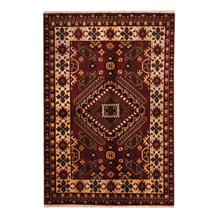 Herat Oriental Indo Hand-knotted Tribal Kazak Red/ Ivory Wool Rug (5'6 x 8'2)