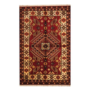 Herat Oriental Indo Hand-knotted Tribal Kazak Red/ Ivory Wool Rug (5'6 x 8'3 )