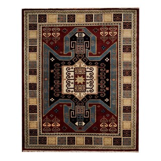 Herat Oriental Indo Hand-knotted Tribal Kazak Red/ Ivory Wool Rug (8'3 x 10')