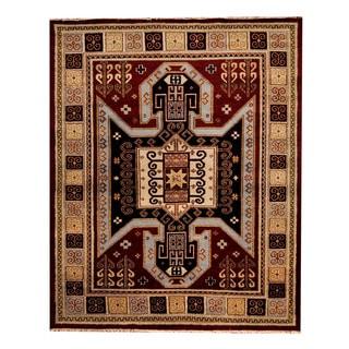 Herat Oriental Indo Hand-knotted Tribal Kazak Red/ Beige Wool Rug (8'1 x 10')