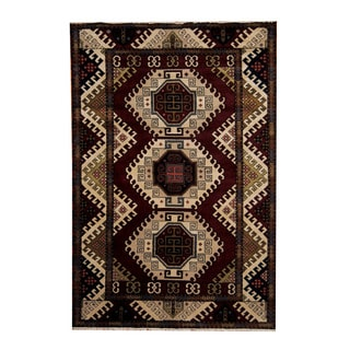 Herat Oriental Indo Hand-knotted Tribal Kazak Red/ Ivory Wool Rug (6'7 x 9'10)