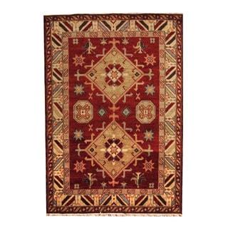 Herat Oriental Indo Hand-knotted Tribal Kazak Red/ Beige Wool Rug (6'8 x 9'7)