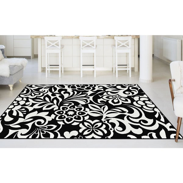 Alise Lagoon Black And White Floral Area Rug 5 39 X 7
