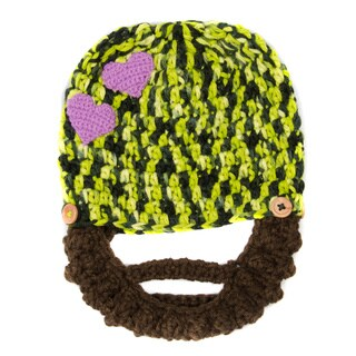 Crummy Bunny Children's Hand Knit Green and Purple Heart Beanie with Removable Beard