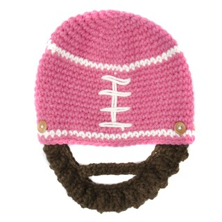 Crummy Bunny Children's Hand Knit Pink Football Beanie with Removable Beard