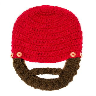 Crummy Bunny Children's Hand Knit Red Beanie with Removable Beard