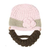 Crummy Bunny Pink and Brown Flower Beanie with Removable Beard