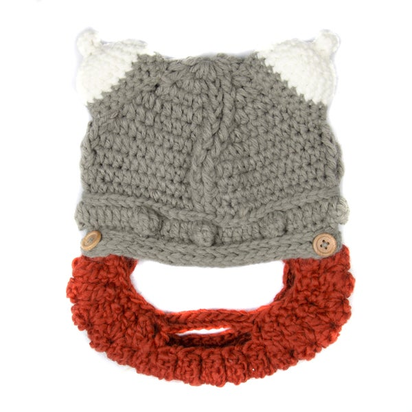Shop Crummy Bunny Hand Knit Grey Viking Hat With Removable Beard