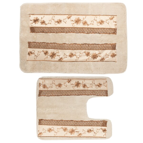 Beige floral design bath rug and contour rug set or for Beige bathroom set