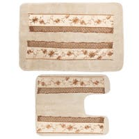 Beige Floral Design Bath Rug and Contour Rug Set or Separates