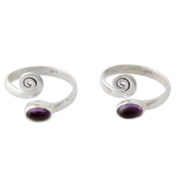 a280e421e14 Shop Handmade Set of 2 Sterling Silver  Curls  Amethyst Toe Rings ...