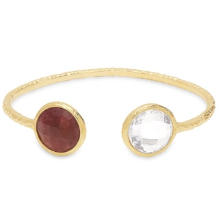 Dolce Giavonna Gold Over Sterling Silver Gemstone Open Bangle