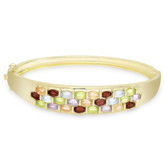 Dolce Giavonna Gold Over Sterling Silver Gemstone Bangle