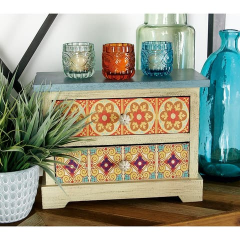 Eclectic 10 x 14 Inch Multicolored 2-Drawer Jewelry Box by Studio 350