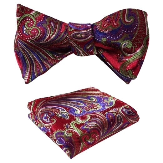 Dmitry Men's Paisley Jacquard Woven Self Bow Tie Set